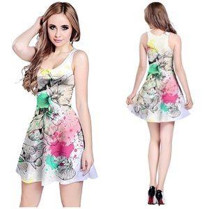CowCow Graffiti Floral Skater Dress NWT